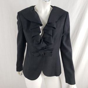 Anne Klein Ruffle Collar Suit Jacket Wool Gray